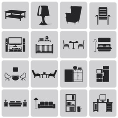 interior Home related Black icons set. Vector Illustration eps10
