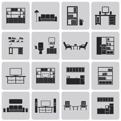 interior Home related Black icons set2. Vector Illustration eps1