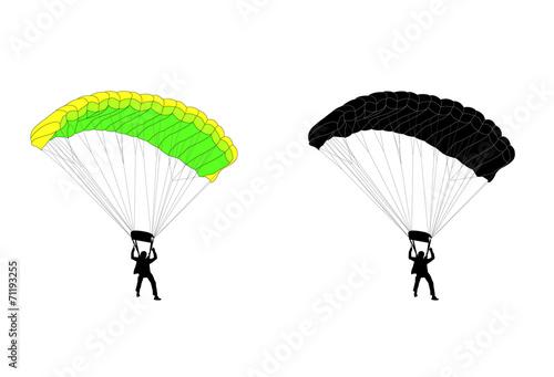 Fototapeta skydiver silhouette and illustration - vector