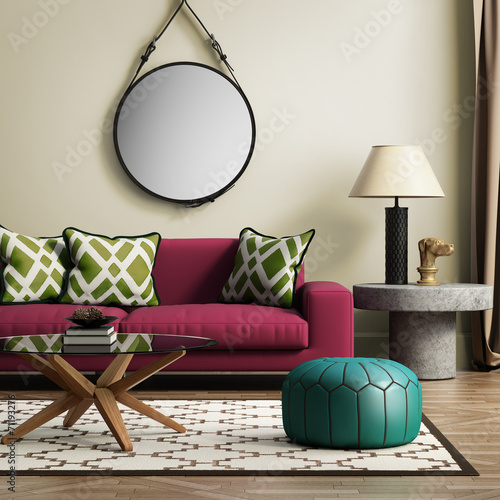 canvas print picture Contemporary elegant red living room