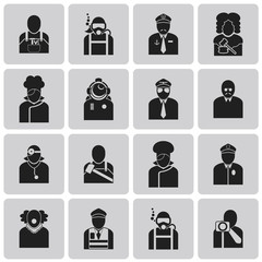 User Icons and People Job avatar Black Icons set2. Vector Illust