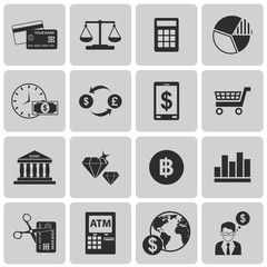 money finance Black icons set3. Vector Illustration eps10