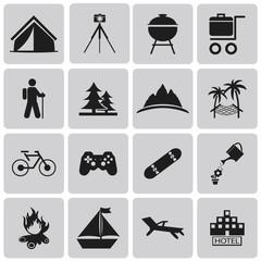 Recreation Black icons set. Vector Illustration eps10