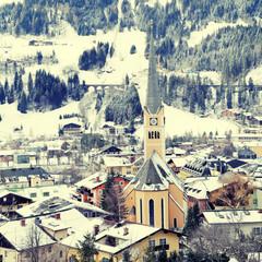 Winter village in the Austrian Alps, instagram effect