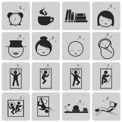 sleep concept black icons set3. Black Vector Illustration eps10