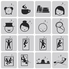 sleep concept black icons set3. Black Vector Illustration eps10