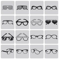 Glasses and sunglasses vector set2. Black Vector Illustration ep
