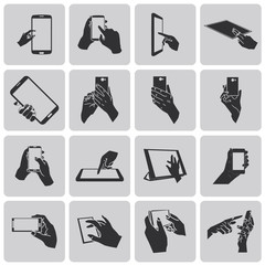 hands holding a tablet touch computer gadget icon set3. Black Ve