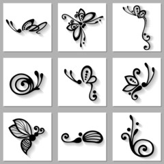 Vector Set of Stylized Ornamental Insects with Long Shadow, Patt