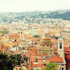 Tile roofs of Nice(France), view from above