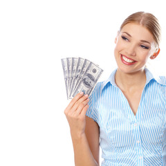 Young woman holding six hundred-dollar bills