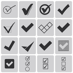 Set of different grey vector check marks or ticks in boxes Black