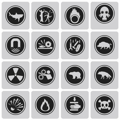 "Different icons for ""Danger"" Black icons set3. Vector Illustrati"