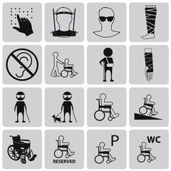 Disability Black Icons Set3. Vector Illustration eps10