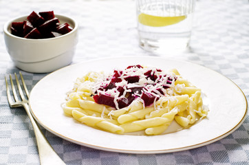 pasta with roasted beets and goat cheese