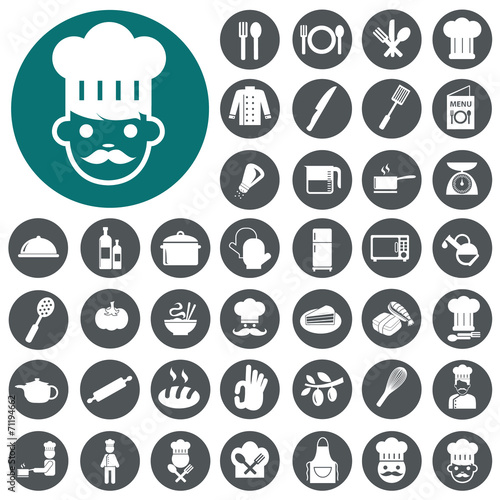 Chef icons set. Vector Illustration eps10 poster