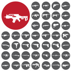 Weapons gun icons set. Vector Illustration eps10