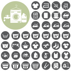 Laundry washing icons symbols  set. Vector Illustration eps10