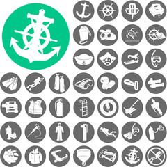 Nautical and marine icons set. Vector Illustration eps10