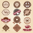 Set of vintage retro coffee badges and labels. Vector Illustrati