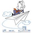 紙飛行機に乗って飛ぶビジネスマンと背景