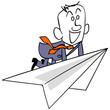 紙飛行機に乗って飛ぶビジネスマン