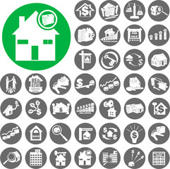 Real Estate and Homes Cityscape Buildin Icons set. Vector Illust