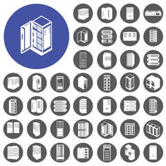 Server computer network icons set. Vector Illustration eps10