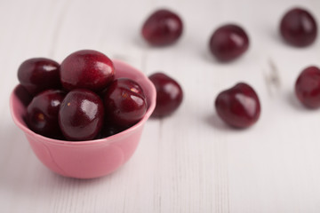 Cherries in a bowl on the worktop