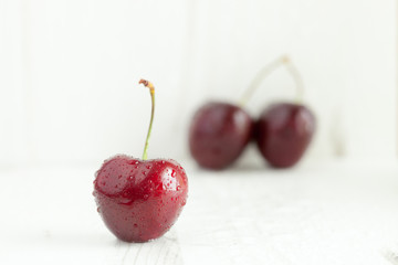 Cherry with water droplets