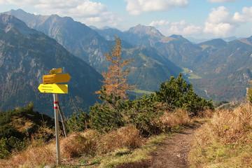 Wanderweg zum Bärenkopf, mit Wegweiser
