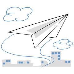 ビジネス街を飛ぶ紙飛行機