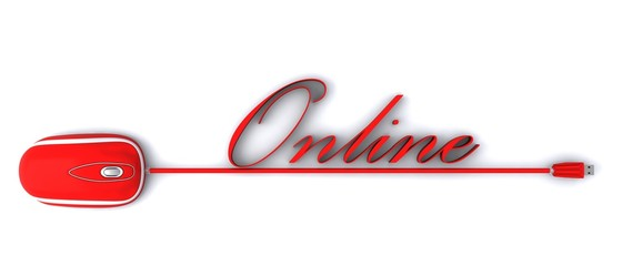 Mouse with red writing Online
