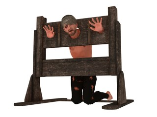Prisoner in pillory