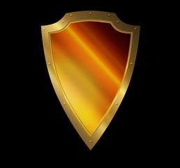 Gold medieval shield.