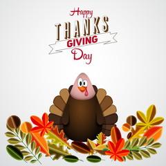 Vintage cartoon of turkey bird for Happy Thanksgiving celebratio