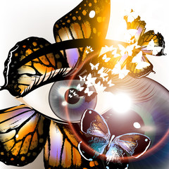 Futuristic unusial background with eye and butterfly