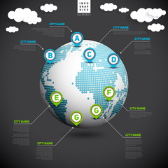 World map globe with pointer marks, infographics communication c