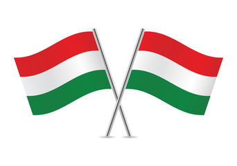 Hungarian flags. Vector illustration.
