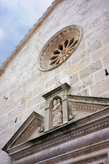 The facade of the Church of the virgin of the rocks