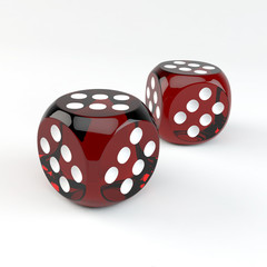 Closeup of two lucky gambling dices