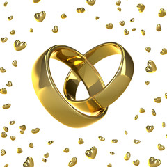 Golden wedding rings in a shape of a heart