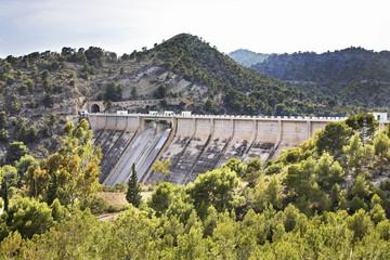 Dam of the reservoir Amadorio. Spain