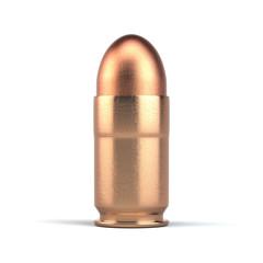Pistol bullet isolated on white