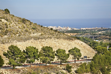 Road to Storage reservoir Amadorio. Spain