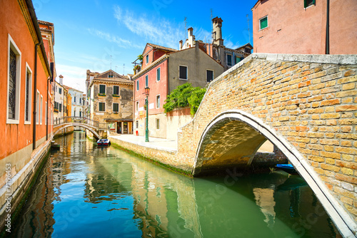 Venice cityscape, water canal, bridge and traditional buildings. - 71196453