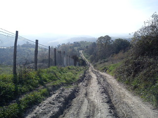Strada dissestata della campagna toscana