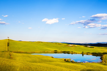 Tuscany, lake, tree and green fields, rural landscape on sunset,