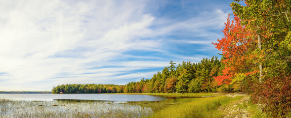 Panorama of Kejimkujik lake in fall from Jeremy Bay Campground
