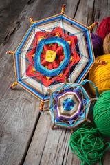 Knitted mandala and yarn